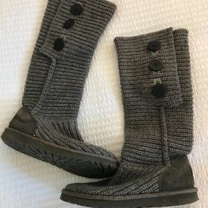 Ugg boots, sweater knit button roll down